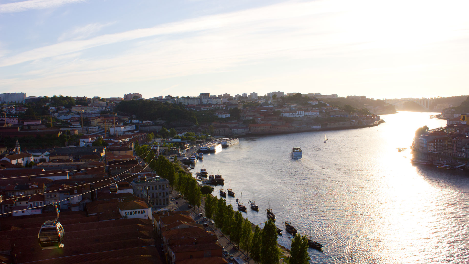 Early sunset by the Douro river and the city Gaia